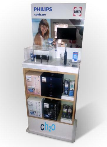 plv présentoir display bois et metal digital avec écran