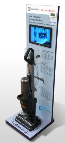PLV digitale bois avec écran de diffusion