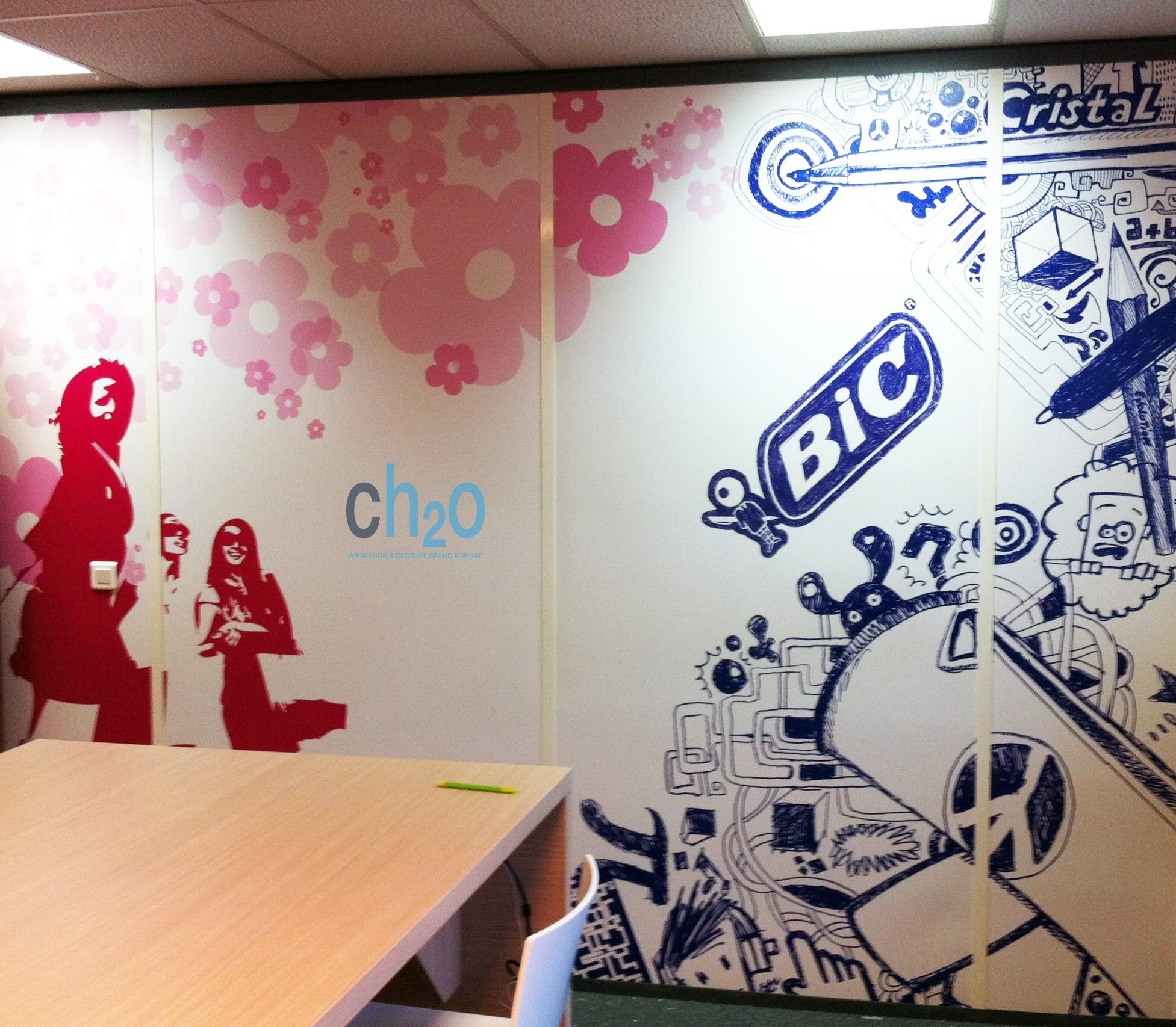 Decoration de bureau papier peint personnalise